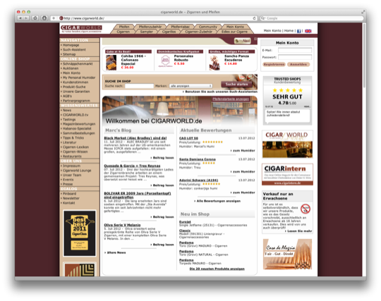 Screenshot der Webseite Cigarworld.de